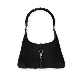 Gucci Black Canvas Handbag W/ Bamboo Handle