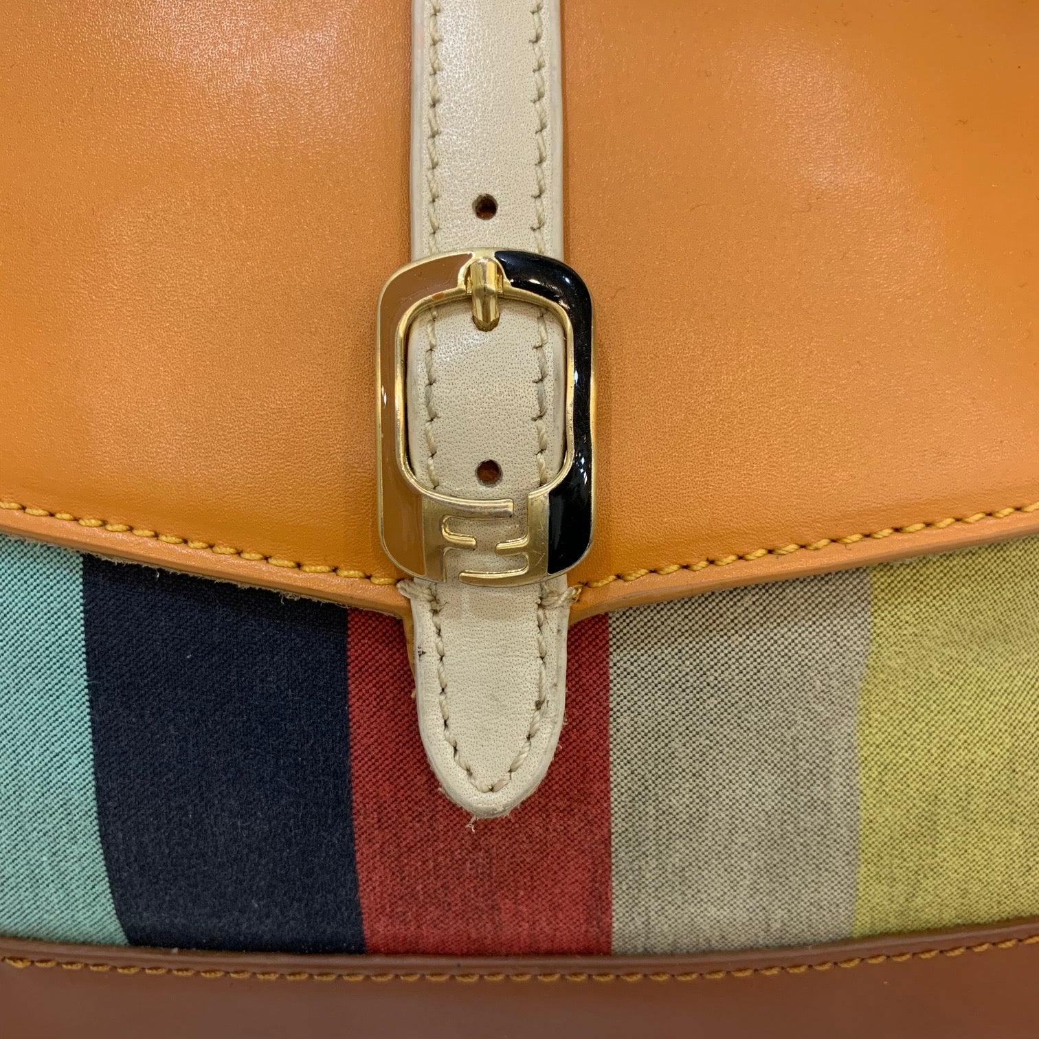 Fendi Multi Color Stripe Cross Body Bag