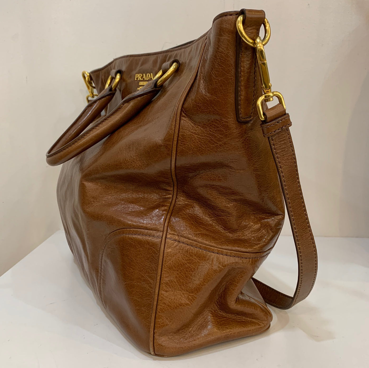 Prada Brown Leather Large Tote