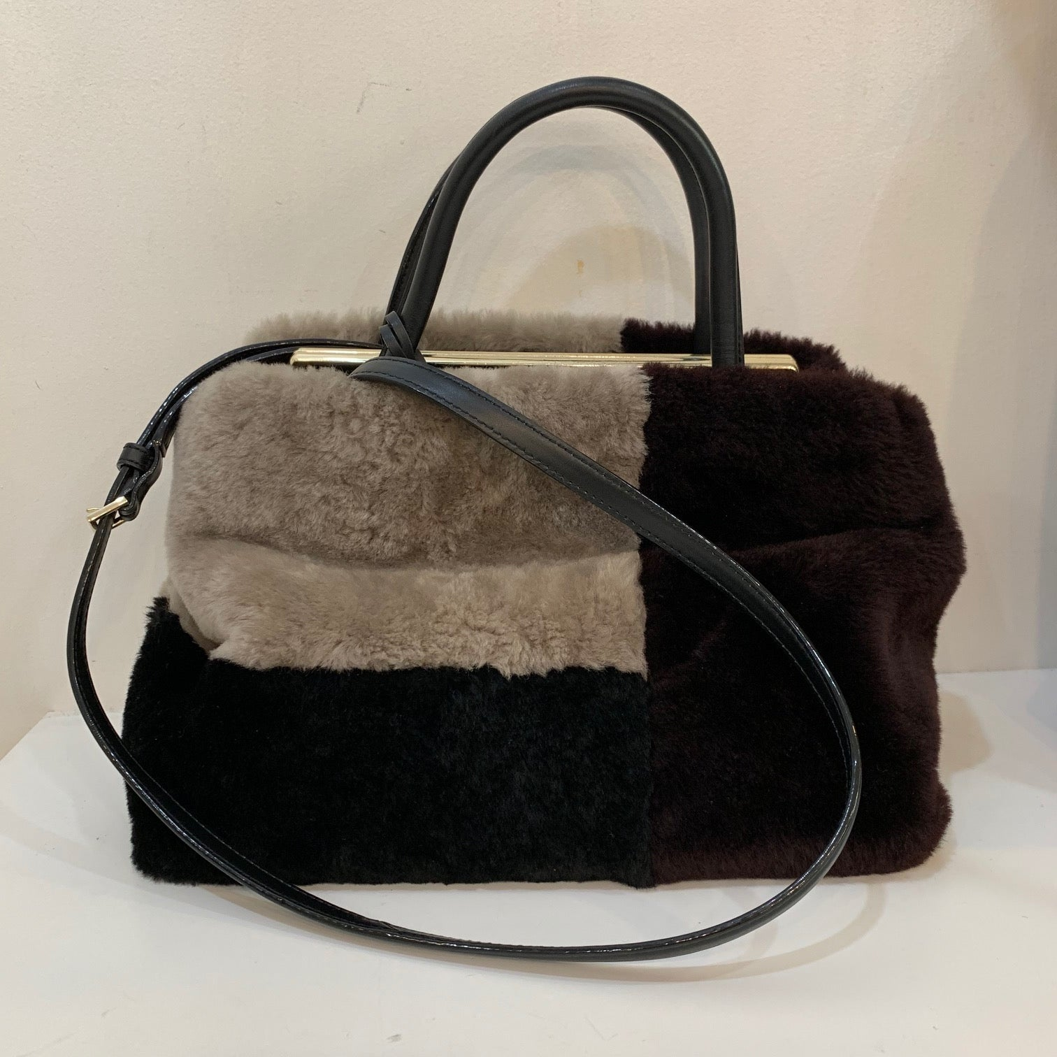 Kate Spade Fur Black/Maroon Shoulder Bag