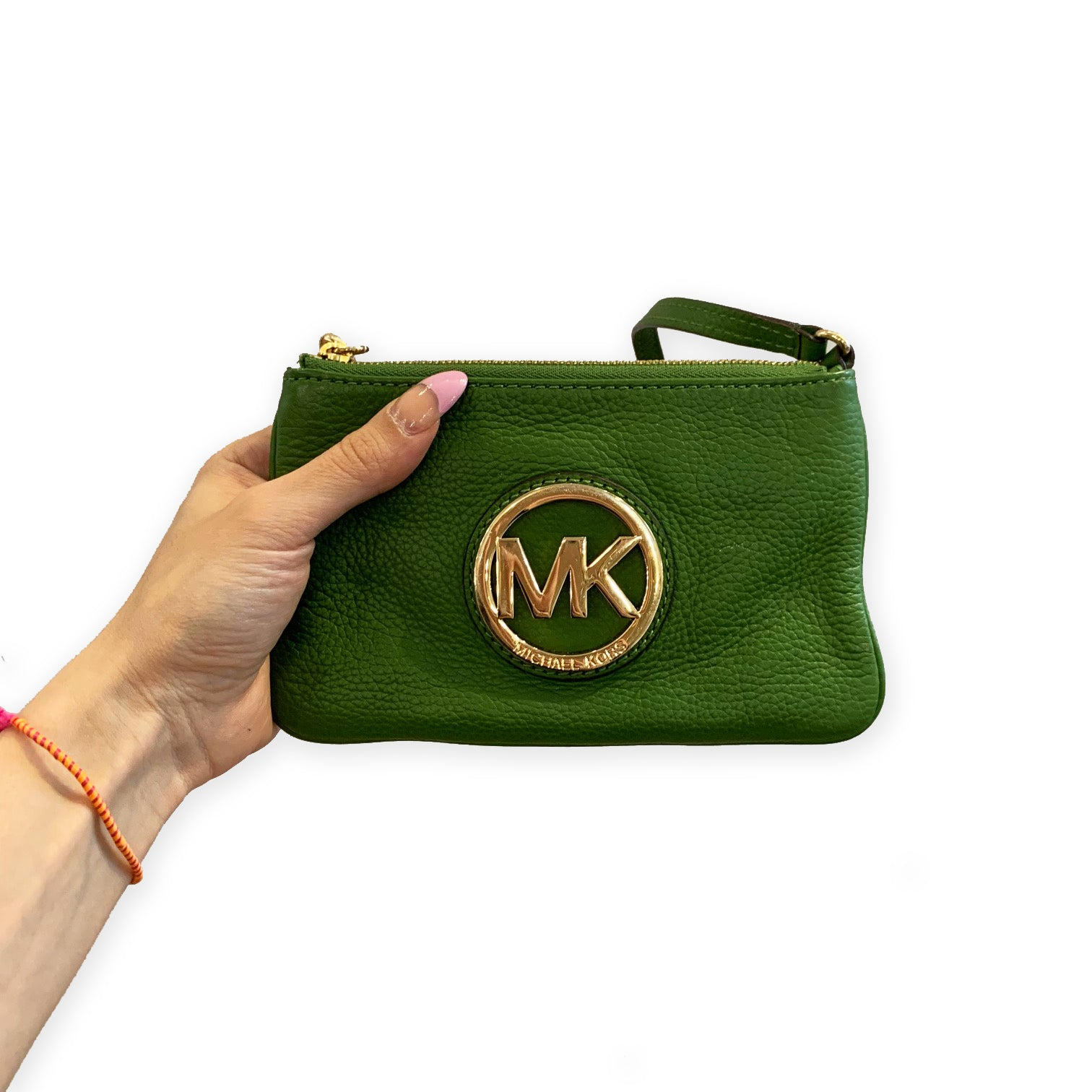 Michael Kors Green & Gold Wristlet