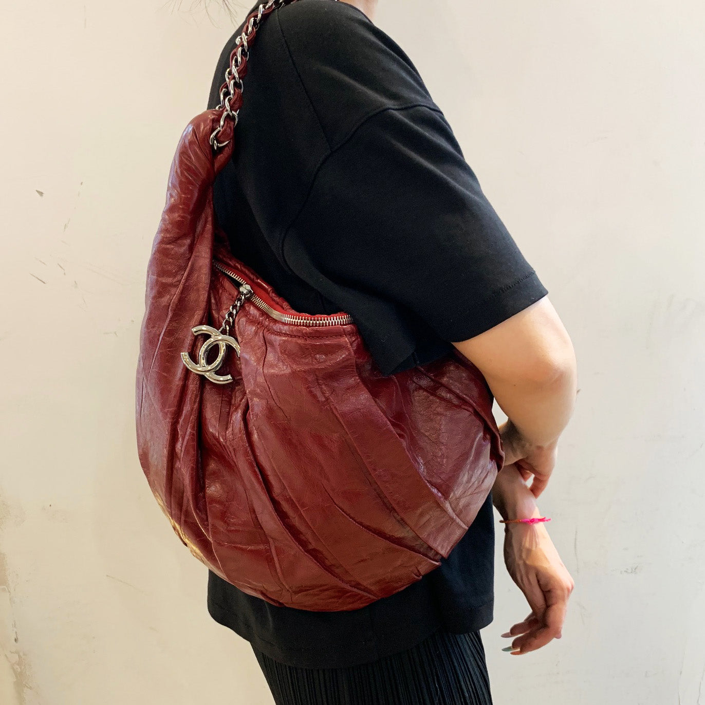 Chanel Maroon Patent Leather Pleated Shoulder Bag