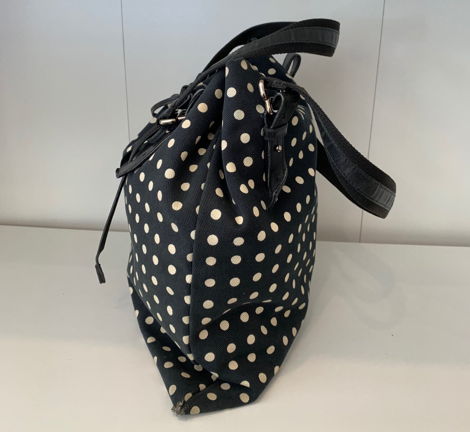 YSL Polka Dot Canvas Drawstring Tote Bag