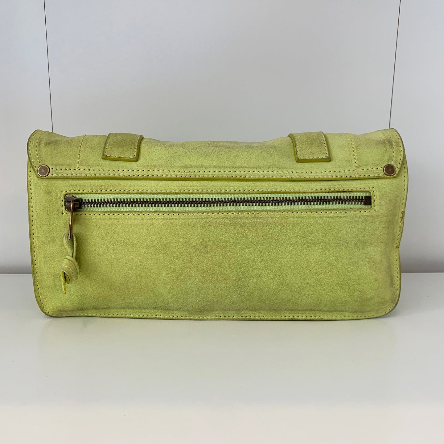 Proenza Lime Green Suede Clutch