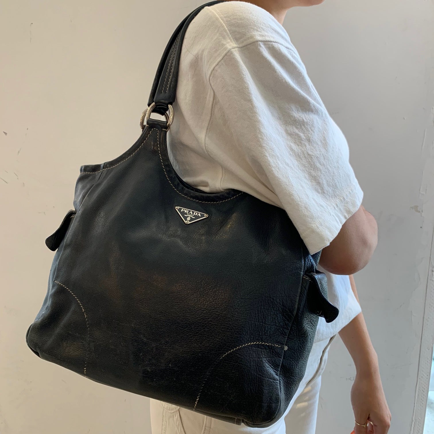 Prada Black Vintage Leather Handbag
