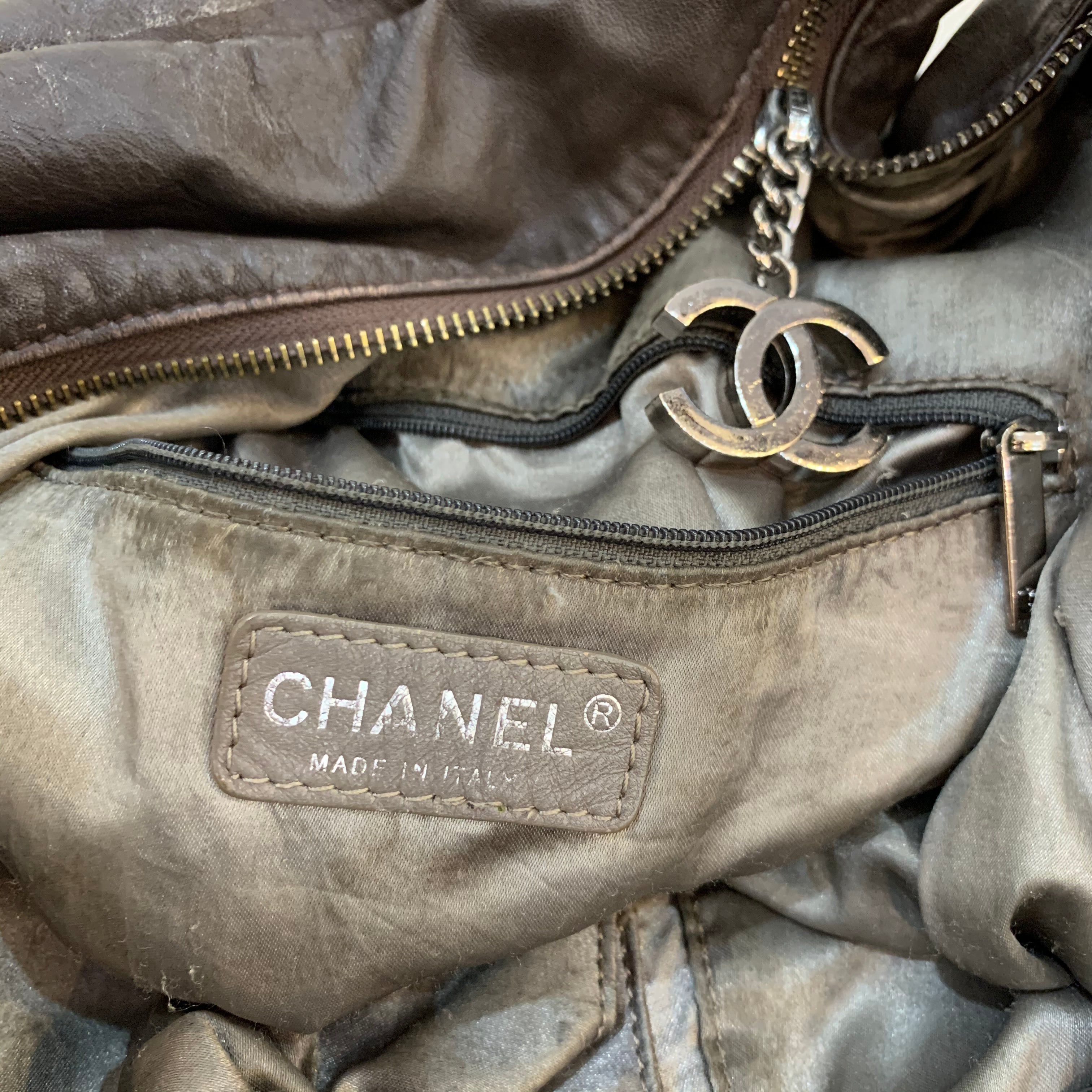 CHANEL Brown Leather Slouch Hobo Bag