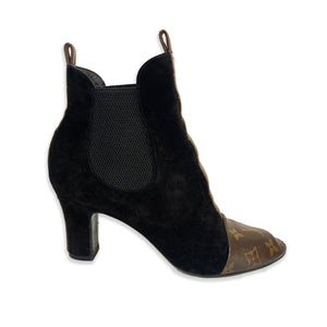 Louis Vuitton Black Suede Monogram Boots - 38