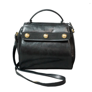 Ferragamo 2 Way Vintage Black Leather Bag