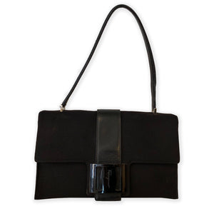 Ferragamo Black Canvas/Leather Shoulder Bag