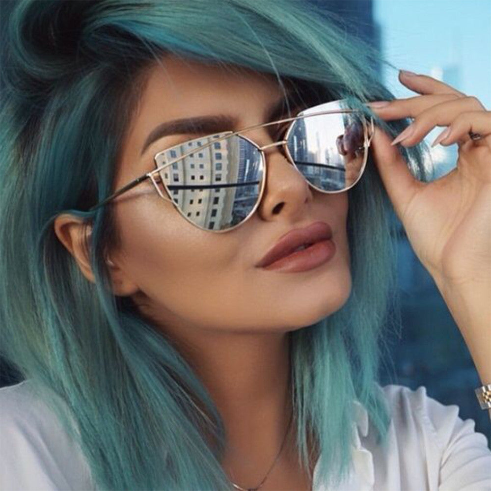 Quality Womens Fashion Oversized Mirror Lens Cat eye Sunglasses - Sunglassinn