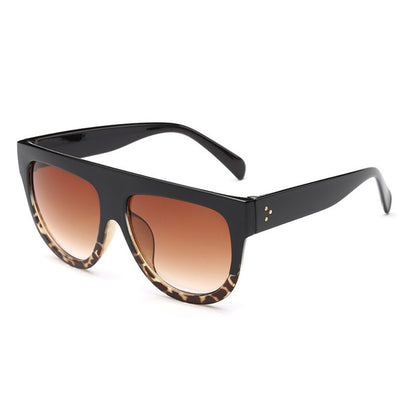 Ladies Celebrity Flat Top Bold Frame Oversized Sunglasses - Sunglassinn