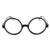 Black Thick Frame Round Clear Lens Glasses Geek Nerd Celebrity - Sunglassinn