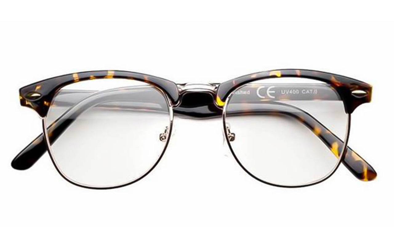 28478c33d3 Classic 1940 s Semi Rim Gold Frame Clear Lens Browline Vintage Glasses -  Sunglassinn