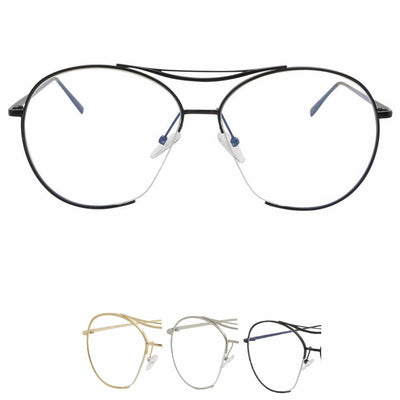 Quality Frame Oversized Aviator Clear Lens Glasses Gold - Sunglassinn