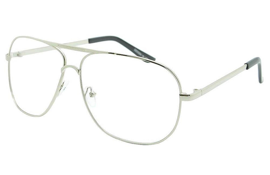 Square Frame Classic Clear Lens Pilot Aviator Crossbar Glasses