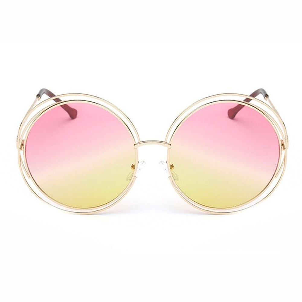 Ladies Fashion Round Lens Double Rim Sunglasses - Sunglassinn