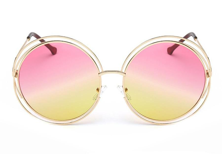 Ladies Fashion Round Lens Double Rim Sunglasses
