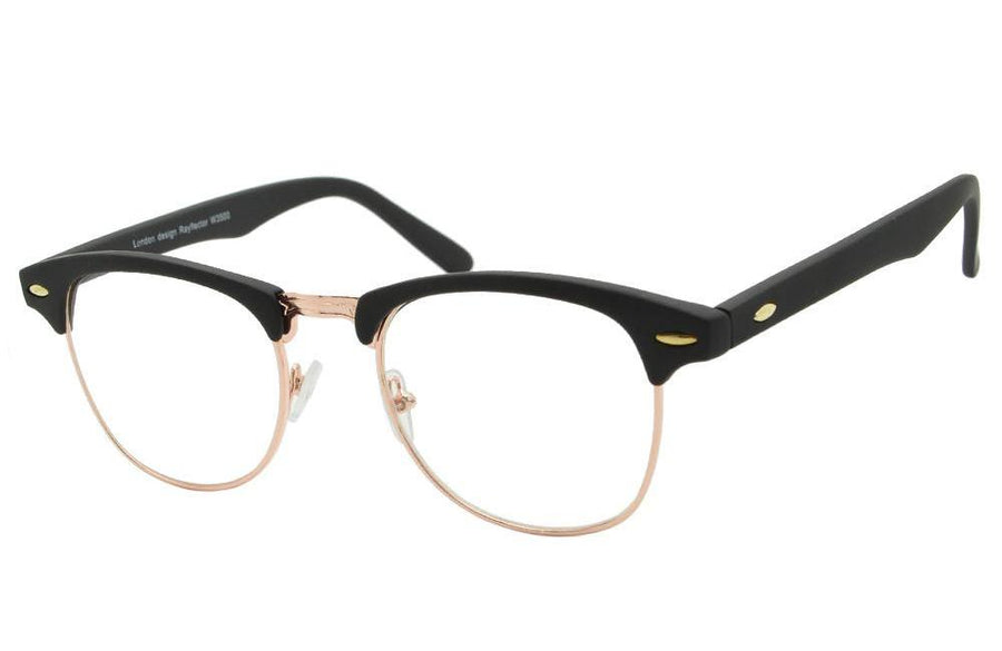 Classic 1940's Semi Rim Gold Frame Clear Lens Browline Vintage Glasses