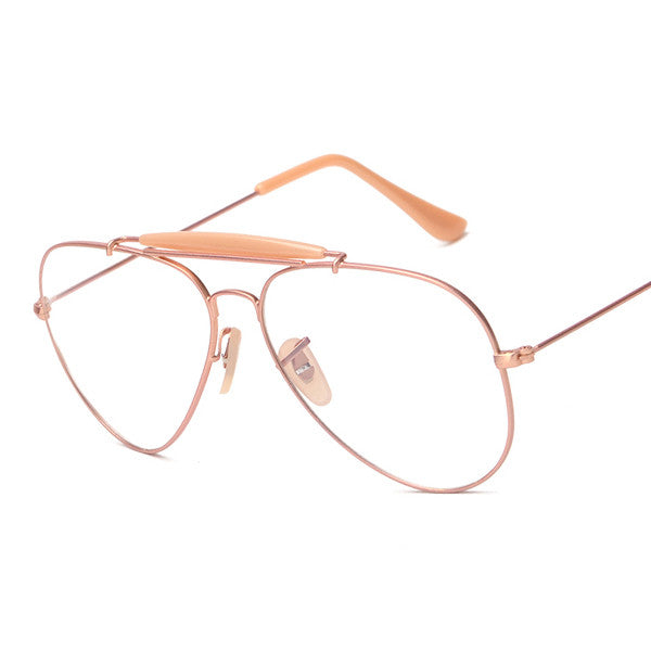e08d723d5a Vintage Pilot Tear Drop Aviator Style Geek Nerd Clear Lens Glasses ...