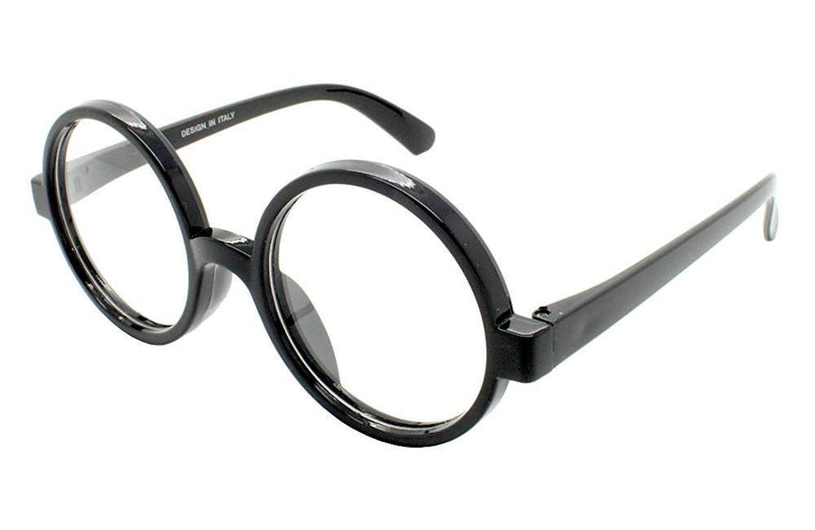 Black Frame Round Lens clear Lens Glasses