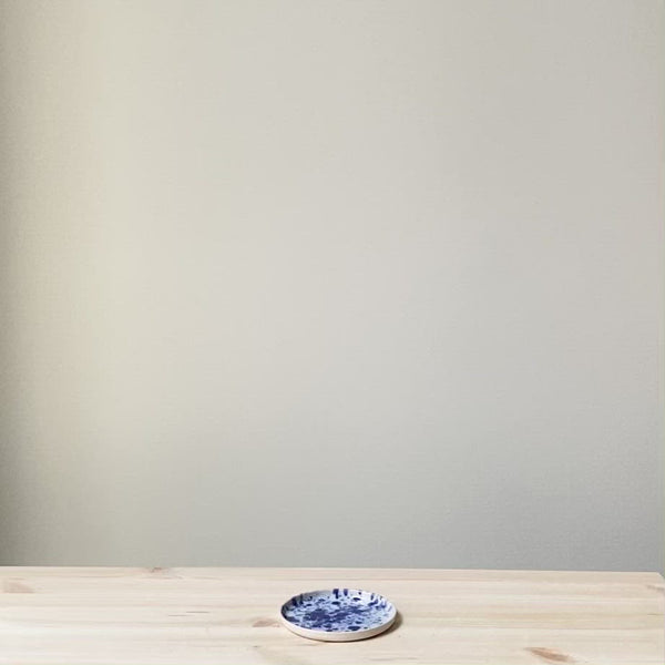Blue and white splatter Saucer