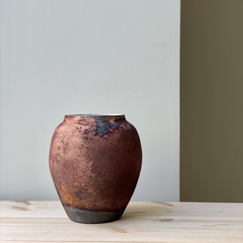 vase-Small unique Raku Vase no. 18-Léon Serre-YONOBI