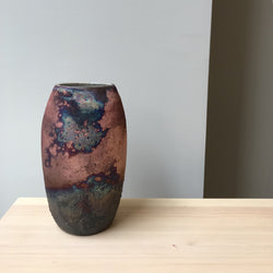 vase-One of a kind Raku Vase-Léon Serre-YONOBI