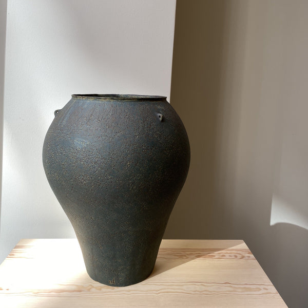 Vase-Green Big vase with 3 handles-Linda Ouhbi-It's yo no bi