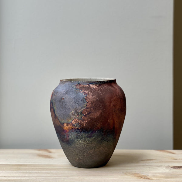 vase-Small unique Raku Vase no. 17-Léon Serre-YONOBI