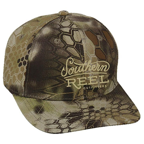 Southern Reel Outfitters hat white orange camo with black southern reel outfitters round logo.