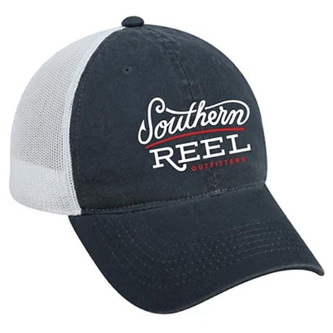 Southern Reel Outfitters trucker style hat. Navy Blue front with white/red southern reel outfitters logo and white mesh back.