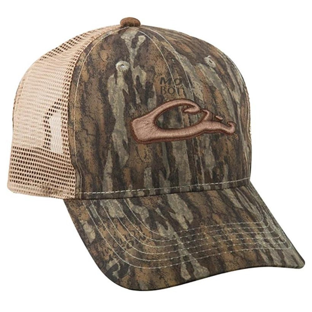 Drake Waterfowl Six Panel Camo Mesh Back Raised Logo Hat - Southern Reel Outfitters