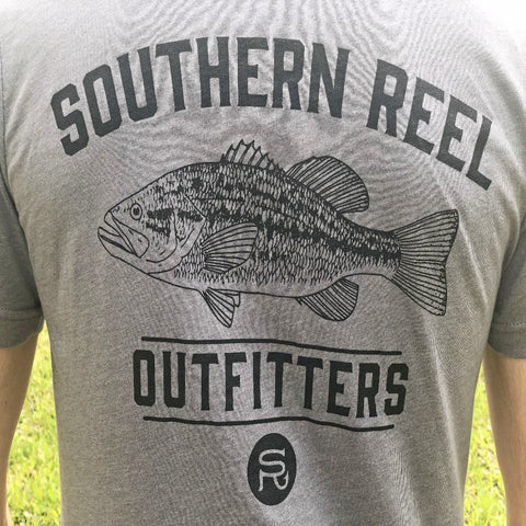 Southern Reel Outfitters t-shirt light gray with forest heather southern reel outfitters logo and bass picture.