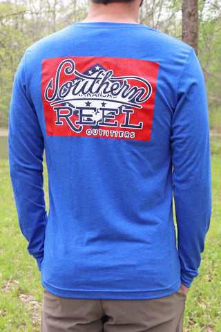 Southern Reel Outfitters Logo LS T-Shirt On Arkansas Flag