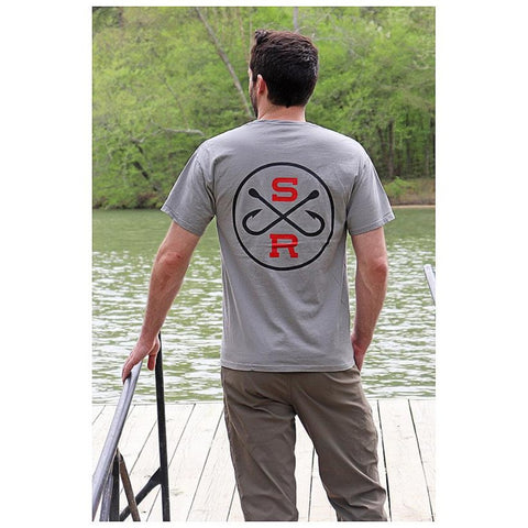 Southern Reel Outfitters red t-shirt with round southern reel logo in black and white