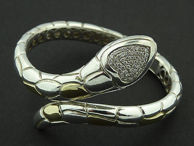"AMAZING ""SONIA B"" STERLING SILVER 14K GOLD SNAKE BRACELET WITH DIAMONDS"