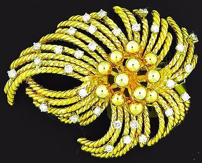 Van Cleef & Arpels 18K Yellow Gold & Diamond Brooch Pin