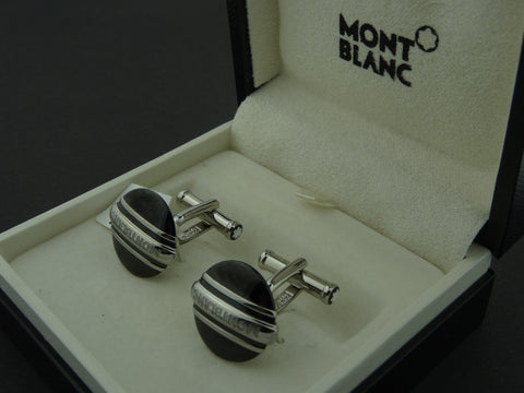 Montblanc Germany Meisterstuck Black & Steel 3 ring Cufflinks