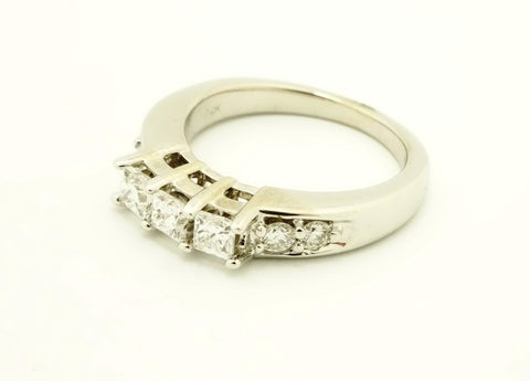 14K White Gold & Diamond Wedding Band Engagement Ring