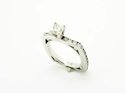 Platinum & Diamond Wedding Band Engagement Ring