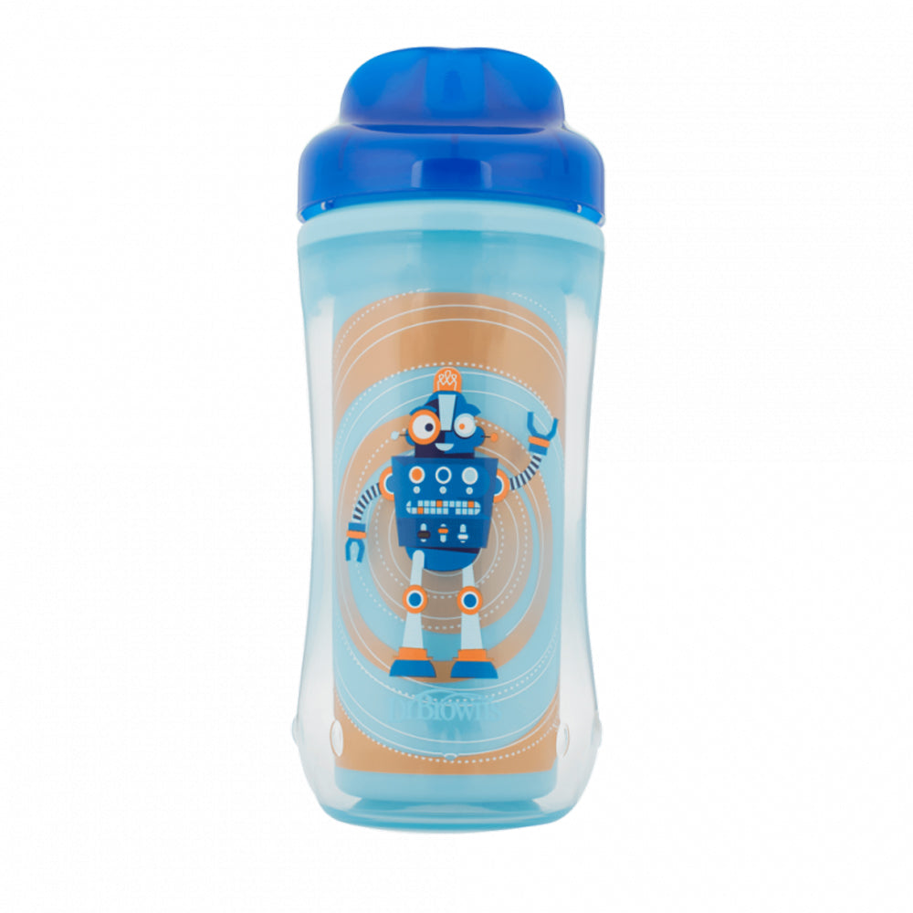Dr Brown's 10 oz Spoutless Insulated Cup - Blue Robot (Stage 4: 12m+)