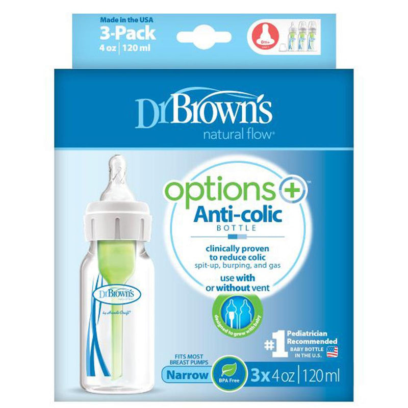 "Dr Brown's Narrow Neck ""Options"" Baby Bottle - PP, 4 oz / 120 Ml, Pack of 3"