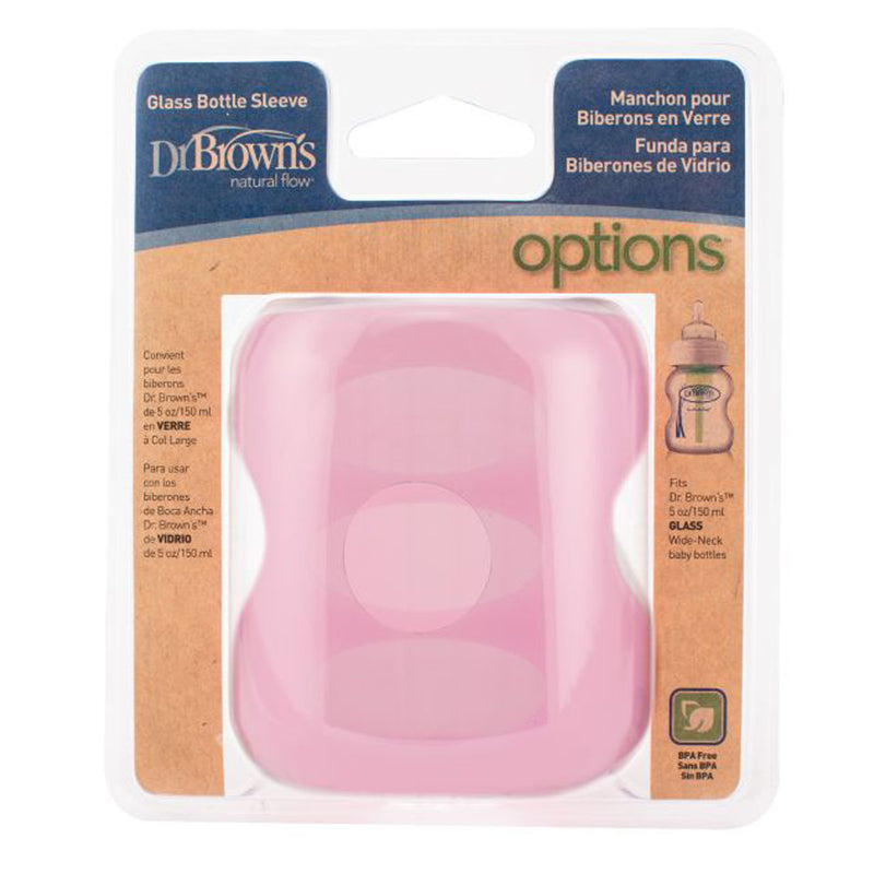 Dr Brown's 5 oz / 150 ml Wide-Neck Glass Bottle Sleeve - Pink