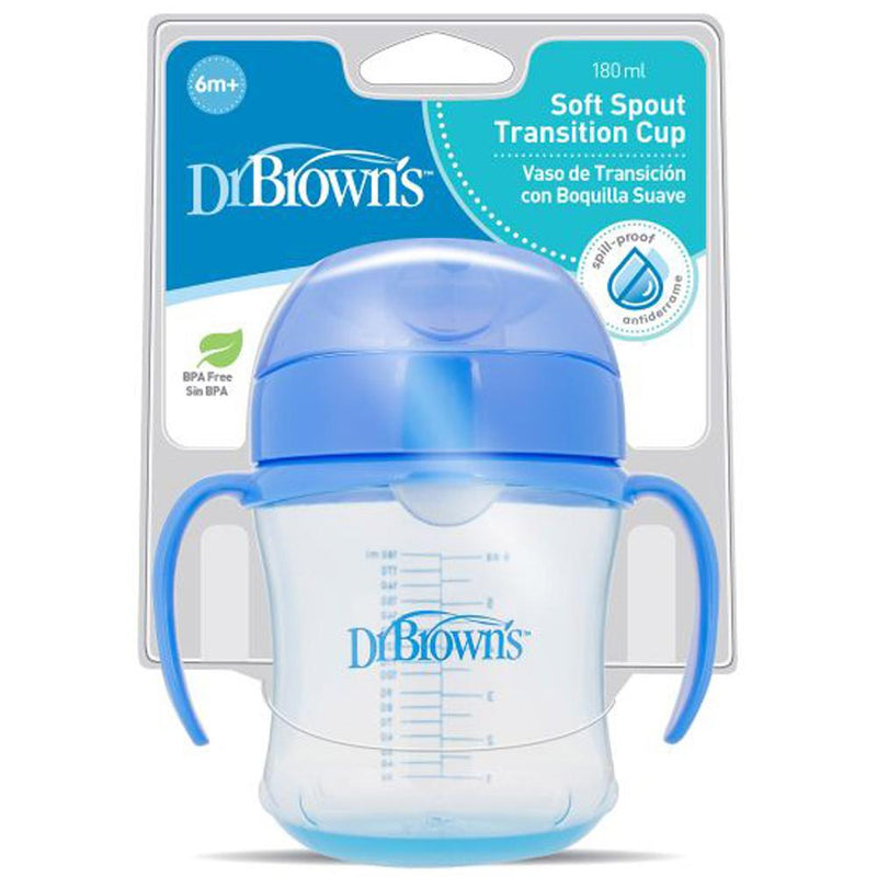 Dr Brown's Soft Spout Transition Cup with Handles Blue 6 Months+, 6 oz / 180 ml