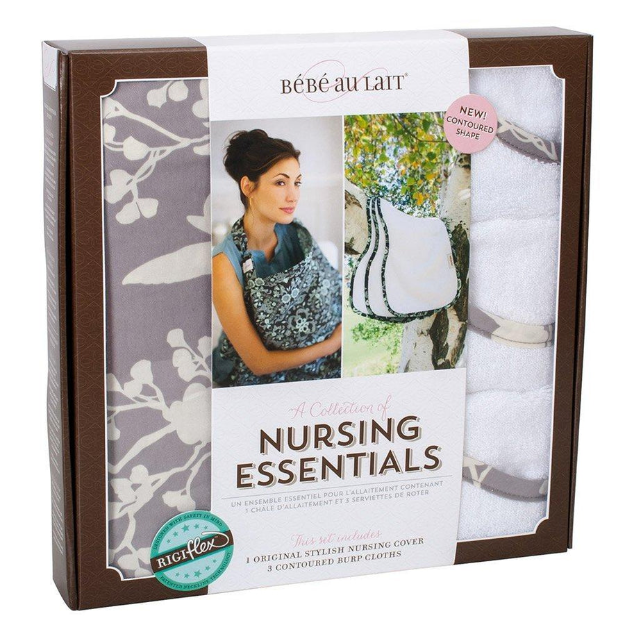 Bebe Au Lait Nursing Set Nest - Nursing Cover and Matching 3 Burp Cloths