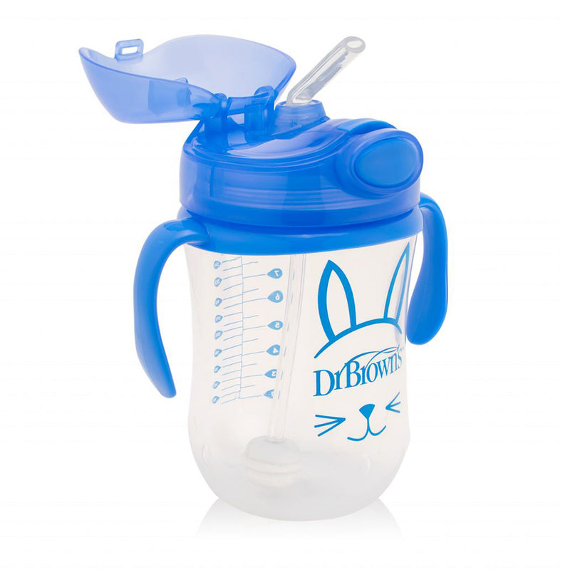 Dr Brown's 9 oz / 270 ml Baby's First Straw Cup with Handles - Blue (6m+)