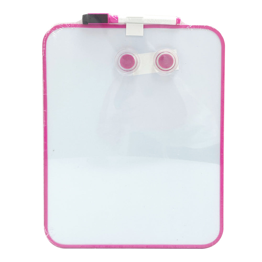 A4 Whiteboard with Two Magnetic Buttons and Marker, Pink