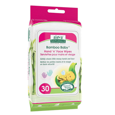 Aleva Naturals Baby Bamboo Hand & Face Wipes, 30 Wipes