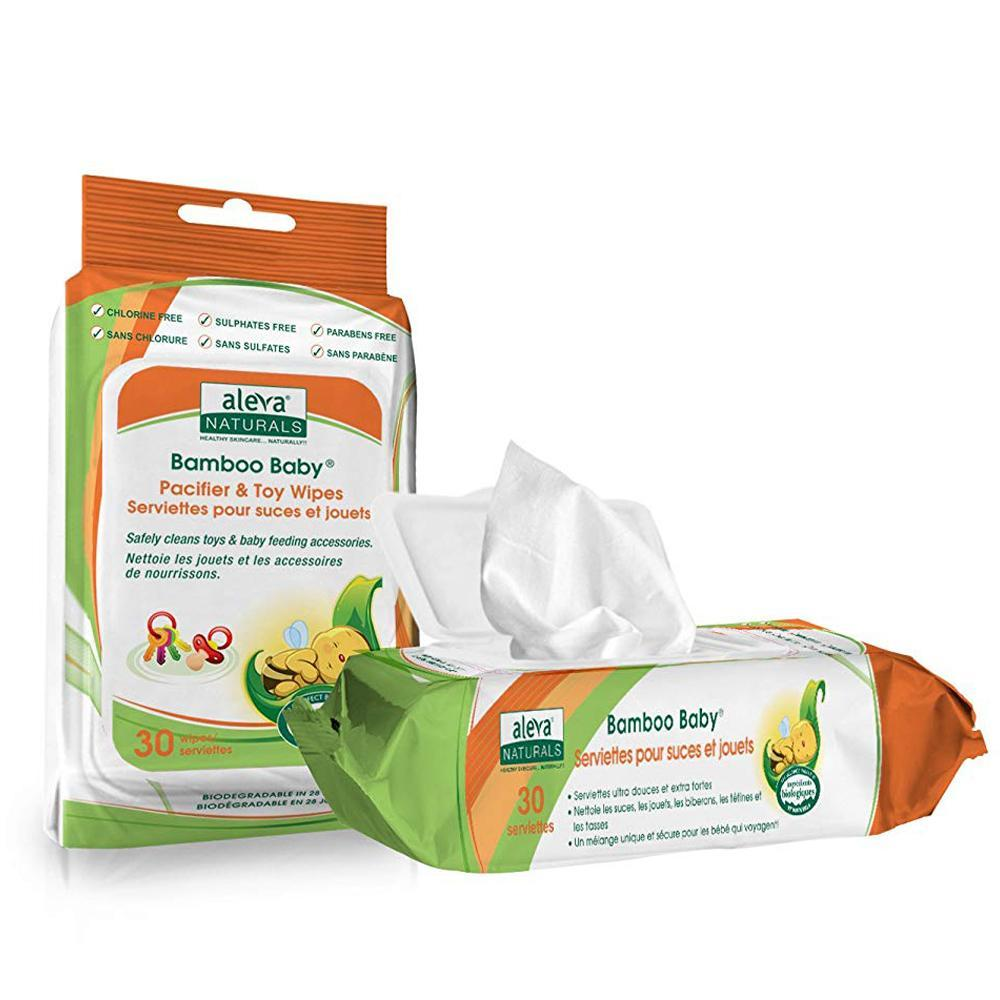 Aleva Naturals Bamboo Baby Pacifier & Toy Wipes, 30 wipes