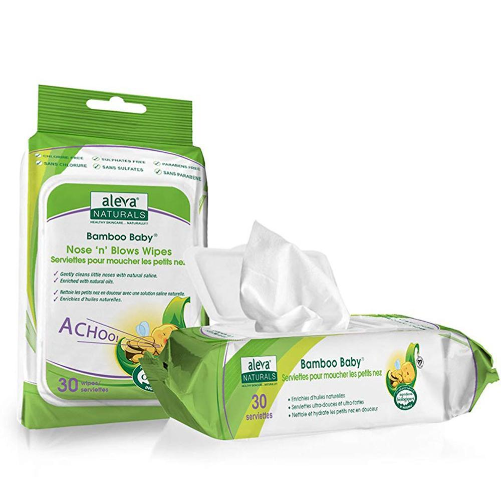 Aleva Naturals Nose and Blows Wipes, 30 wipes